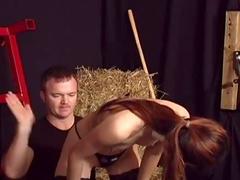 Collared Asian submissive put through bondage