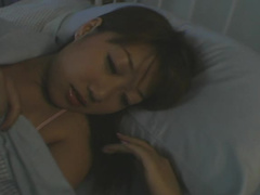Sleepy Asian beauty gets roughly fucked in bed