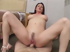 Sexy brunette teasing her bf