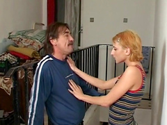 Pretty Birgitte spreads legs and fucks an old man