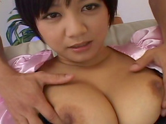 Hot as hell brunette Meguru Kosaka is playing with dick