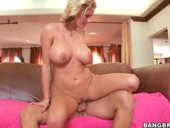 Curvy blonde cock riding mom