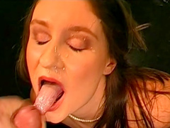 Pretty brunette is swallowing big loads of sperm