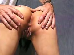 Close up on him playing with Asian pussy
