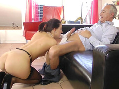 Lyen and her sister are sucking senior's dick