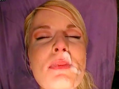 German whores with pierced tongues receive a bukkake