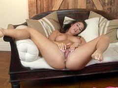 Brunette Eva Lovia loves fingering and stroking
