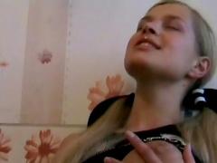 Pretty blonde Lana shows her nice boobies
