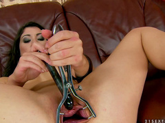 Nasty brunette whore toys her gaping wet vagina