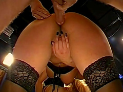 Two nasty blondes getting pleasing after a tough anal drill