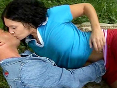 Horny couple fucks like there's no tomorrow on the grass