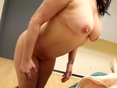 Brunette is giving a deep blowjob for that cock