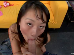 Asian with pierced tongue sucks dick