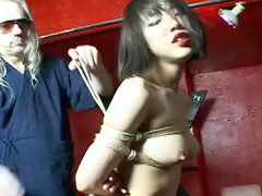 Extreme rope bondage for Asian girl