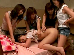 Alluring Asian beauty is fucking with her sister and strapon