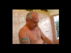 Asian sucks off old man in shower