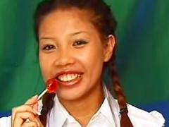 Cute Asian schoolgirl laid in her cunt