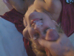 Blonde love to suck and swallowing
