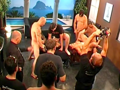 Backstage of a hardcore German gangbang fucking action