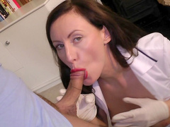 Brunette is sucking a pretty big pole
