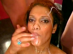 Hot babe Perla is getting two dicks in her face