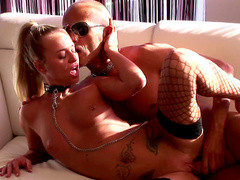 Smiley blonde gets chained and fucked like a dirty slut