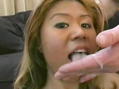 Asia with piercing on her pussy is showing extreme blowjob
