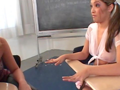 Schoolgirls double team teacher cock