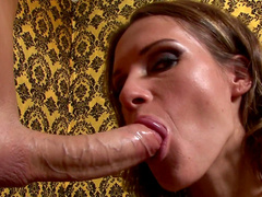Brunette milf with big tits performs an incredible blowjob