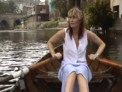 Babes rowing boat and flashing
