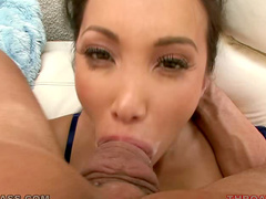Asian throat fucked by a thick cock