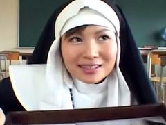 Pretty Asian nun is swallowing loads of jizz
