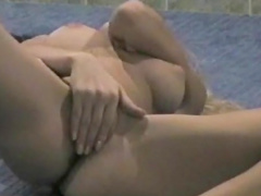 Blonde Anne is touching her lovely puss