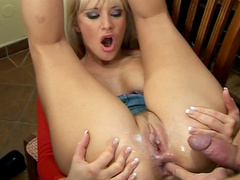 Anal pounding at the kitchen of a busty blonde lady