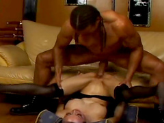 Smiling Japanese dolly is riding on the slender dick