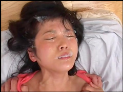 Slender Asian babe is got cum on her face