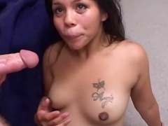 Hot Asian preggy gets banged in blue see through lingerie