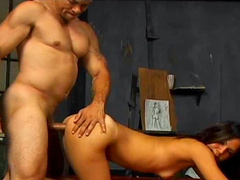 Perverted brunette sucks that horny as hell dick on the camera
