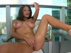 Solo big tits girl masturbation