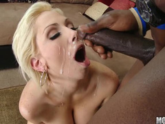 His cum drips offf her face