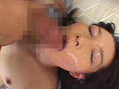 Asian cutie swallows her friend's sperm