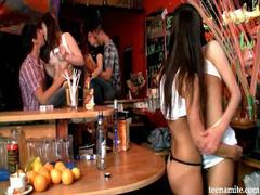 Teen lesbians in the bar
