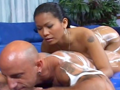 Asian model Priva is wanking dick in the shower