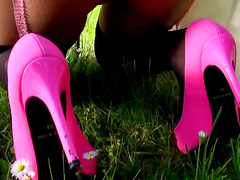 Euro stockings girl nailed outdoors