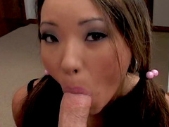 Pigtailed Asian cutie Miko Sinz fuck with big pole