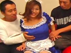 Lovely Asian babe Momoka Oanai gets her pussy poked