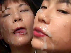 Sexy babe loves to kiss with tasty jizz in her mouth