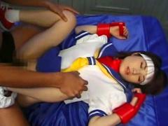 Asian babe gives a deep blowjob