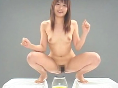 Japanese gals with a hairy pussy take a piss and get banged