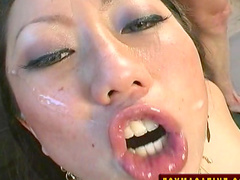 Asian babe bangs with two nice cocks